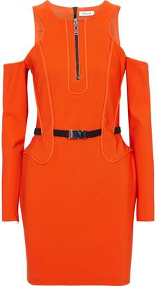 Thierry Mugler Cold-shoulder Belted Cady Mini Dress