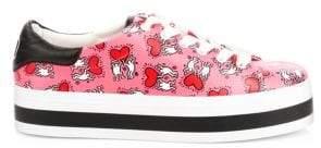 Alice + Olivia Keith Haring x Ezra Love Print Leather Platform Sneakers