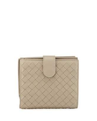 Bottega Veneta Small French Woven Bi-Fold Wallet, Gray $590 thestylecure.com