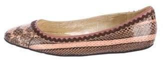 Oscar de la Renta Snakeskin Round-Toe Flats