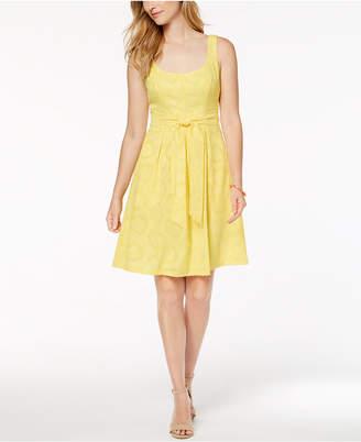Nine West Belted Jacquard Fit & Flare Dress