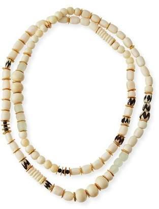 Akola Long Bone & Sea Glass Beaded Necklace