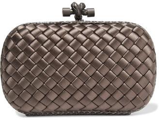 Bottega Veneta - The Knot Watersnake-trimmed Intrecciato Satin Clutch - Mushroom $1,580 thestylecure.com