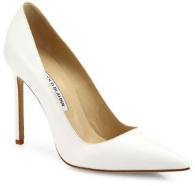 Manolo Blahnik BB 105 Leather Point Toe Pumps $595 thestylecure.com