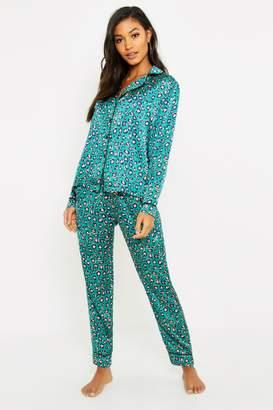 boohoo Satin Button Through PJ Trouser Set