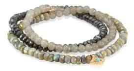 Sydney Evan Diamond, Turquoise& Peach Corneola Shell Bead Eye Wrap Bracelet