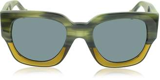 Balenciaga BA0011 65V Green & Yellow Acetate Women's Sunglasses