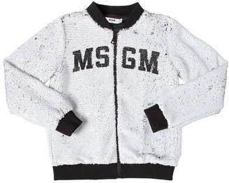 MSGM Logo Print Sequined Bomber Jacket