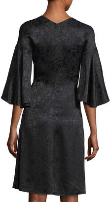 Derek Lam Medallion Jacquard V-Neck Dress