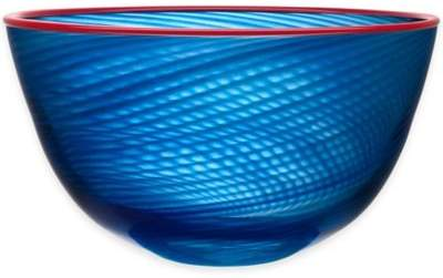 11.5-Inch Red Rim Bowl in Blue