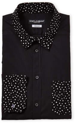 Dolce & Gabbana Polka Dot Trim Dress Shirt