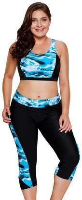 HotseGoba Women's swimming suit bikini tops capris pants bottoms two piece swimsuits tankini sets (, Bue)