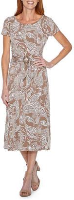 Perceptions Short Sleeve Puff Print Paisley Fit & Flare Dress