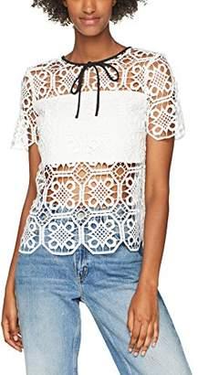 Endless Rose Women's Black Ribbon Lace Regular Fit Classic Short Sleeve Shirt,6 (Manufacturer Size: X-Small)