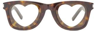 Saint Laurent Monogram Rectangle Frame Glasses - Womens - Tortoiseshell