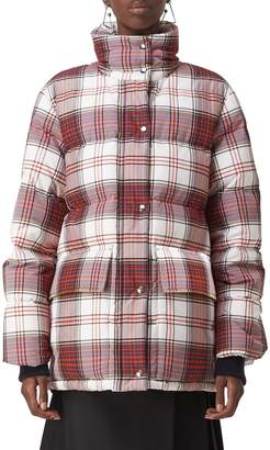 Burberry Selsey Check Print Down Coat