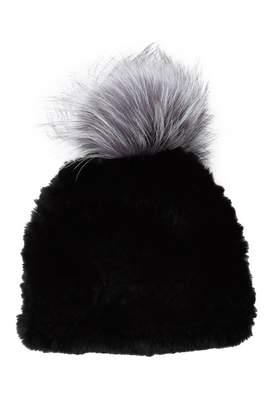 Surell Genuine Dyed Red Rabbit Fur Pompom Trim Beanie