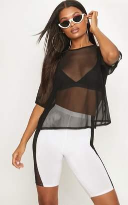 f534d25673c26 PrettyLittleThing Black Mesh Oversized T Shirt