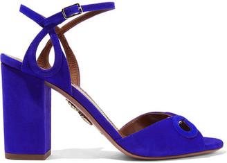 Aquazzura - Vera Cutout Suede Sandals - Bright blue $695 thestylecure.com