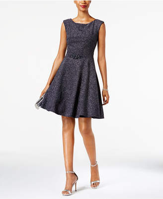 Betsy & Adam Embellished Glitter Fit & Flare Dress