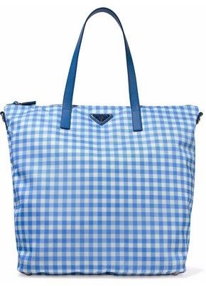 Leather-Trimmed Gingham Shell Tote