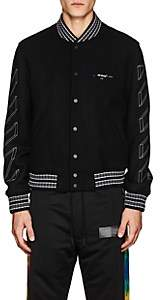 Off-White Men's 3D-Striped Wool-Blend Varsity Jacket - Black