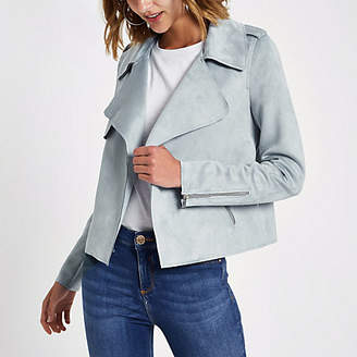 River Island Light blue faux suede cropped trench jacket
