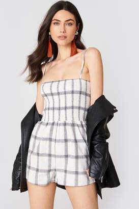 MinkPink Smocked Check Playsuit