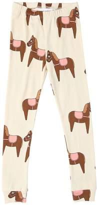Mini Rodini Horses Print Cotton Jersey Leggings
