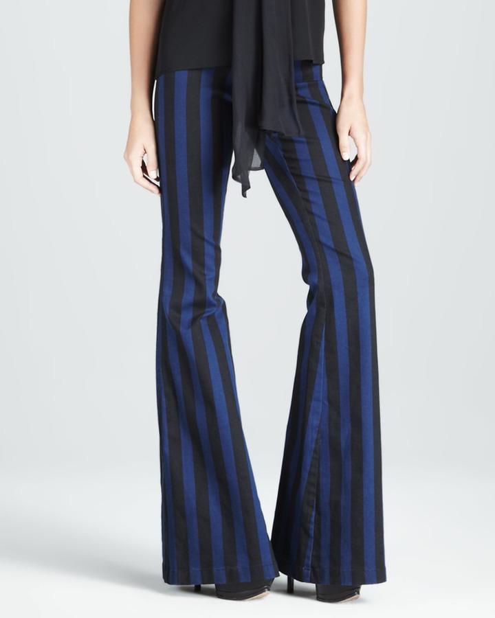 Alice + Olivia Striped High-Waist Pants