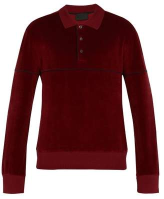Prada Long Sleeved Chenille Cotton Polo Shirt - Mens - Red