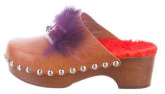 Fendi Faces Leather Clogs