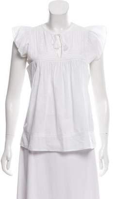 Ulla Johnson Embroidered Cap Sleeve Blouse
