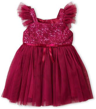 Popatu (Infant Girls) Sequin & Tulle Flutter Sleeve Dress