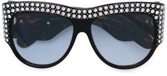 oversized tortoiseshell embellished glasses