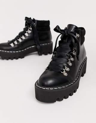 Lamoda Remedy black lace up boot with stitch detail