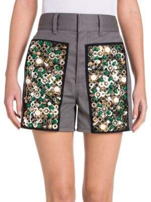 Prada Ricamo Drill Stretch Embroidered Shorts