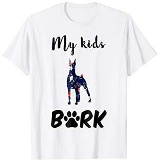 My Kids BARK Doberman Dog Mom Silhouette Shirts