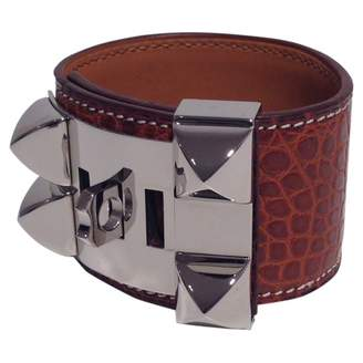 Hermes Collier de chien Brown Exotic leather Bracelets