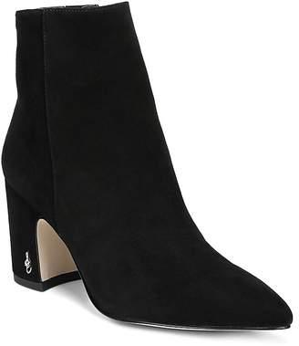 Sam Edelman Women's Hilty Pointed Toe Suede Block High-Heel Ankle Booties