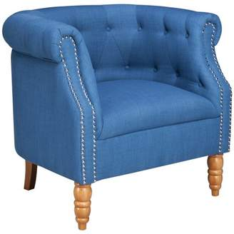 Ash Berkley Home Tufted Tub Chair with Nailheads - Dum Dum Blue Coast