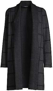 Eileen Fisher Women's Grid-Print Shawl Collar Cardigan