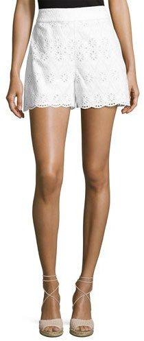 Kate SpadeKate Spade New York Cotton High-Rise Eyelet Shorts, Fresh White