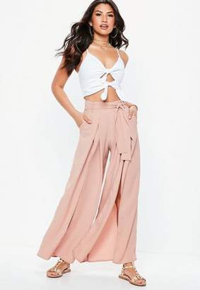 Missguided Petite Nude Extreme Split Belted Wide Leg Trousers, Blush
