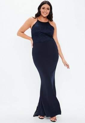 Missguided Plus Size Bridesmaid Navy Scallop Trim Maxi Dress