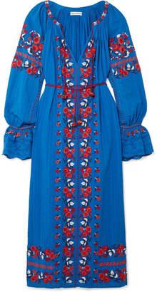 Ulla Johnson Filia Embroidered Cotton-gauze Midi Dress - Bright blue