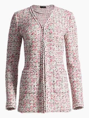 St. John Modern Pointelle Knit V-Neck Jacket