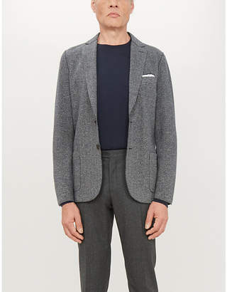 Eleventy Herringbone-print regular-fit cotton-blend blazer
