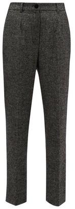 Dolce & Gabbana High Waisted Virgin Wool Blend Tweed Trousers - Womens - Grey Multi
