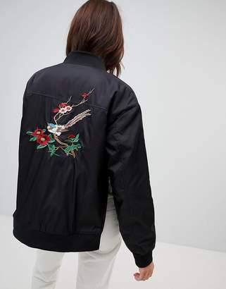 NA-KD Embroidery Bomber Jacket - Black